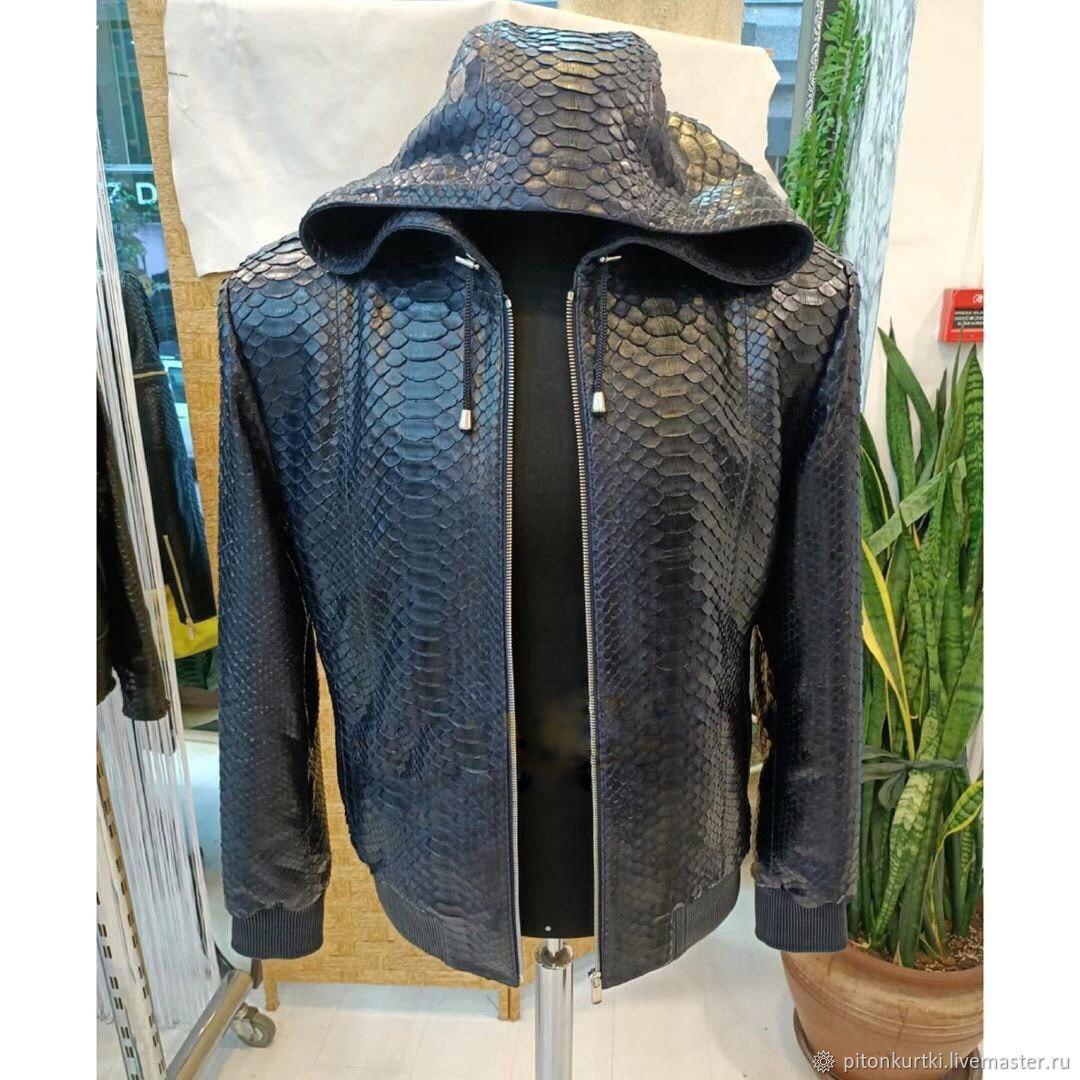Мужская кожаная куртка из питона с капюшоном, Куртки, Москва,  Фото №1