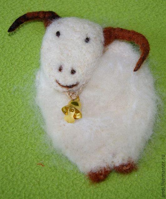 Brooches handmade. Livemaster - handmade. Buy Brooch 'Sheep'.Felt, brooch-sheep