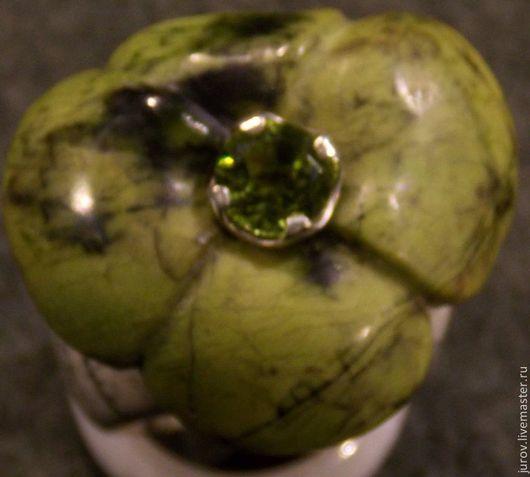 Кольца ручной работы. Ярмарка Мастеров - ручная работа. Купить Цветок творения. Handmade. Оливковый, кольцо с цветком