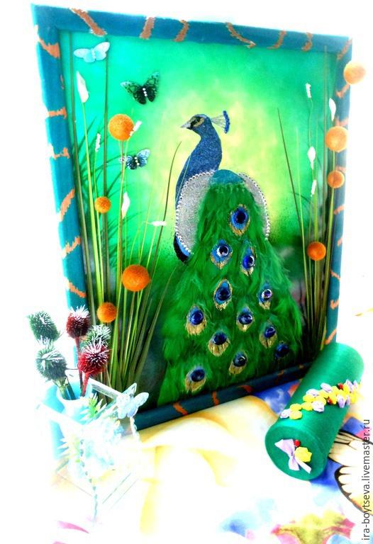 """Животные ручной работы. Ярмарка Мастеров - ручная работа. Купить Объемная картина """"Павлин"""". Handmade. Зеленый, подарок, декоративное панно"""