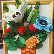 """Картины и панно ручной работы. Ярмарка Мастеров - ручная работа Цветочное панно """"Букет с лилией"""". Handmade."""