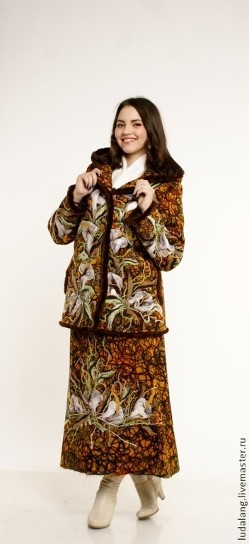 Верхняя одежда ручной работы. Ярмарка Мастеров - ручная работа. Купить Зимняя куртка и юбка Мягкое золото. Handmade. Коричневый