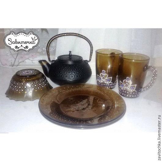 Чайный комплект `Дымчатые точки` 6 предметов