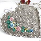 Подарки к праздникам ручной работы. Ярмарка Мастеров - ручная работа Ароматическое саше с лавандой сердечко ароматное льняной мешочек. Handmade.