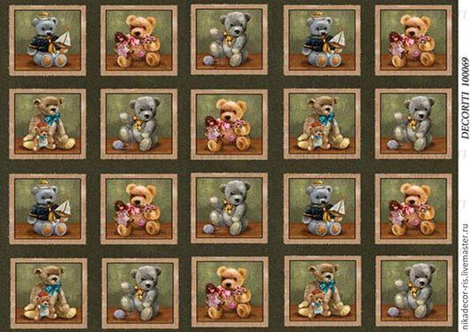 Декупаж и роспись ручной работы. Ярмарка Мастеров - ручная работа. Купить Медвежата - мини (D100069) - рисовая бумага, А4. Handmade.