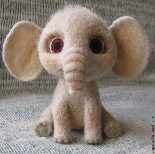 Игрушки животные, ручной работы. Ярмарка Мастеров - ручная работа. Купить Слонёнок. Handmade. Бежевый, слонёнок войлочный