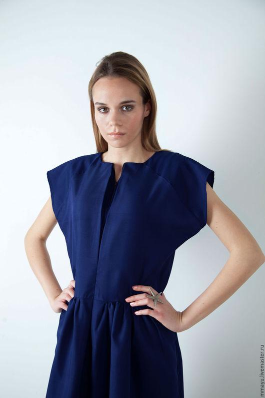 """Платья ручной работы. Ярмарка Мастеров - ручная работа. Купить платье """"электрик"""". Handmade. Тёмно-синий, платье, платье до колена"""