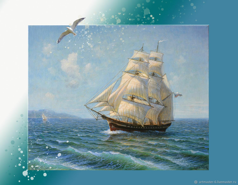 Картина маслом.Пейзаж.Море.Корабль.Парусник, Картины, Ялта,  Фото №1