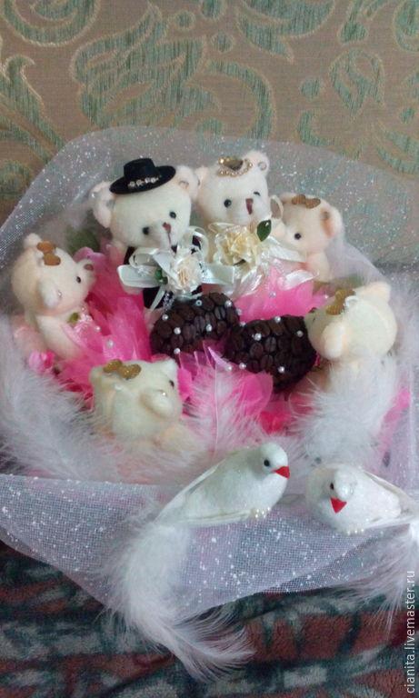 """Подарки для влюбленных ручной работы. Ярмарка Мастеров - ручная работа. Купить Букет из мишек """"Свадебная феерия"""". Handmade. Розовый, голуби"""
