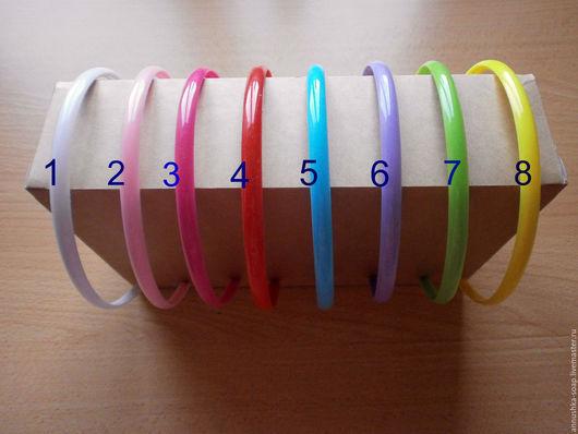 Ободок пластиковый цветной, 8 мм.