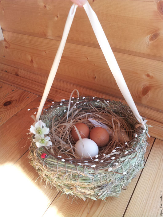 Подарки на Пасху ручной работы. Ярмарка Мастеров - ручная работа. Купить пасхальное гнездо с ручкой. Handmade. Бежевый, гнездо для новорожденного