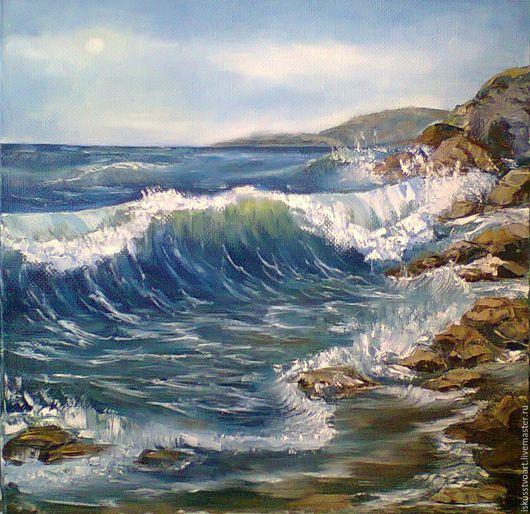 Пейзаж ручной работы. Ярмарка Мастеров - ручная работа. Купить Морской пейзаж. Handmade. Комбинированный, масло, маринист, масло