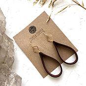 Украшения handmade. Livemaster - original item Earrings made of natural leather in gold. Handmade.
