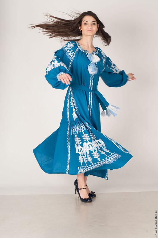 """Этническая одежда ручной работы. Ярмарка Мастеров - ручная работа. Купить Этническое платье """"ФОЛЬК"""". Handmade. Синий, лен, хлопок"""