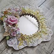Зеркала ручной работы. Ярмарка Мастеров - ручная работа Зеркало в стиле шебби шик и mixed media. Handmade.