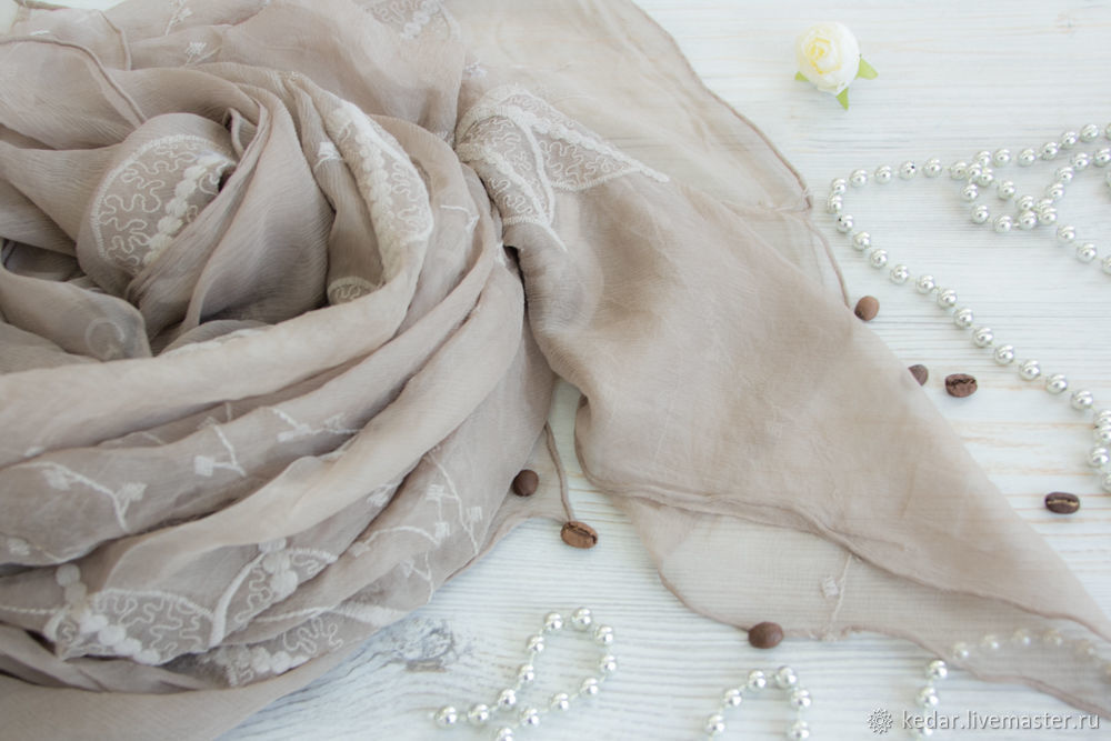 Exclusive silk embroidered scarf from Gucci fabric dark beige, Shawls1, Moscow,  Фото №1