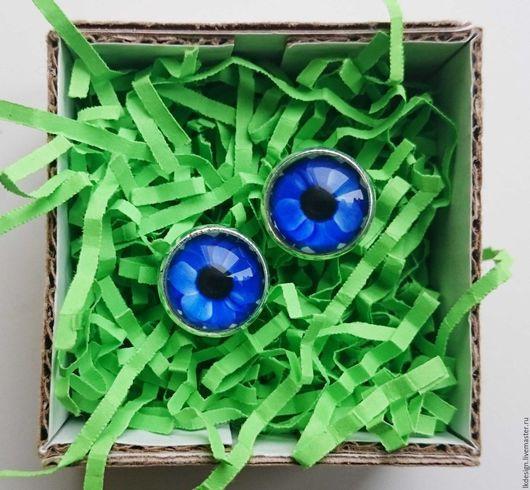 """Серьги ручной работы. Ярмарка Мастеров - ручная работа. Купить Серьги """"Анемоны"""". Handmade. Тёмно-синий, цветы, стеклянный кабошон"""