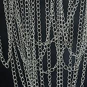 2084_0,5м_Цепочка серебро с родиевым покрытием 4x3 мм, Цепь 925 пробы