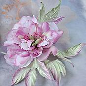 handmade. Livemaster - original item Brooch peony silk