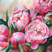 Картины и панно handmade. Livemaster - original item Painting for interior Pink peonies (flowers green pink). Handmade.