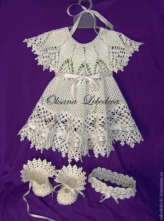 Одежда для девочек, ручной работы. Ярмарка Мастеров - ручная работа. Купить Платье пинетки Морозные Узоры из хлопка крючком Белый Фиолетовый. Handmade.