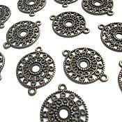 Материалы для творчества handmade. Livemaster - original item Connector circle openwork bronze, accessories for jewelry. Handmade.
