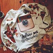 """Одежда ручной работы. Ярмарка Мастеров - ручная работа Утепленная ИМЕННАЯ толстовка """"Follow me"""" (Instagram). Handmade."""