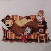 """Картины и панно ручной работы. Ярмарка Мастеров - ручная работа Вышитая картина """"Маша и Медведь"""" """" Давай лечится..."""". Handmade."""