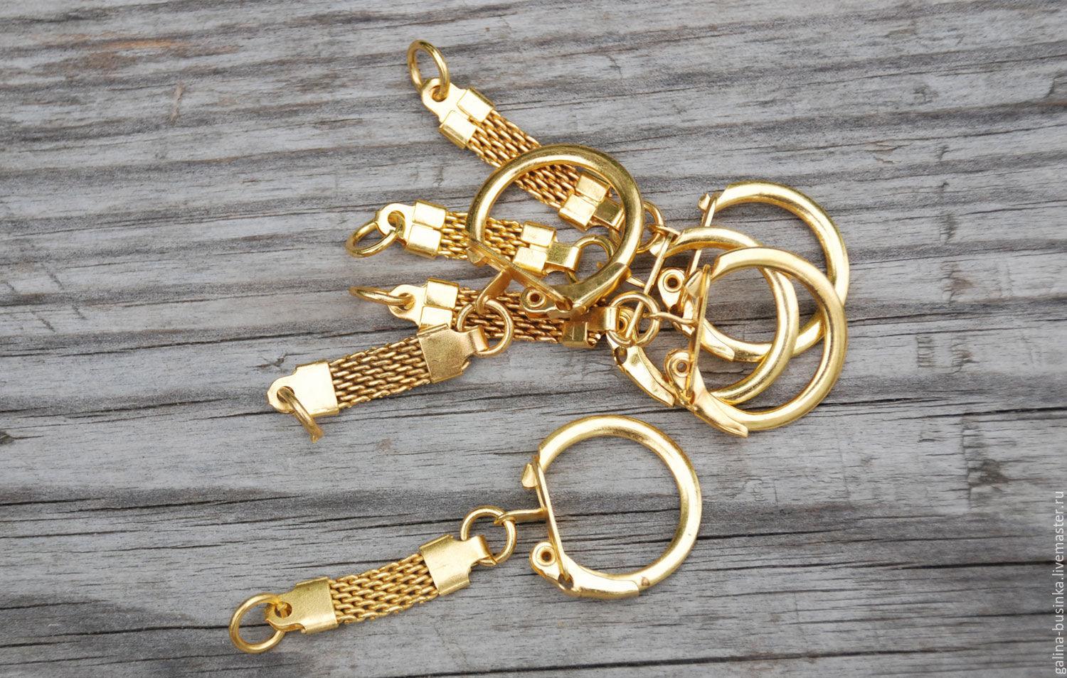 Base with carabiner, keychain ( gold color), Blanks for jewelry, Moscow,  Фото №1