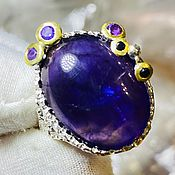Украшения handmade. Livemaster - original item 17p Ring with amethyst 19 ct and sapphires buy. Handmade.