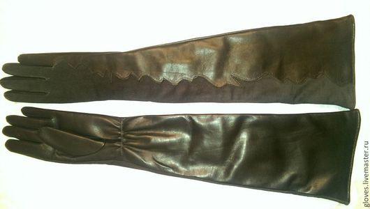 Варежки, митенки, перчатки ручной работы. Ярмарка Мастеров - ручная работа. Купить Перчатки удлиненные кожаные с подкладкой комбинированые с замшей. Handmade.