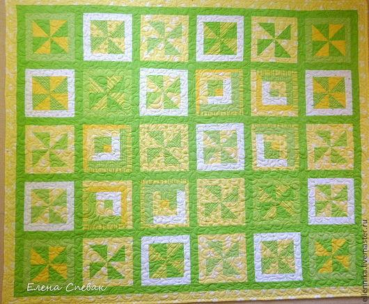 """Детская ручной работы. Ярмарка Мастеров - ручная работа. Купить Детское одеяло """"Весна"""". Handmade. Зеленый, печворк, зеленый цвет"""