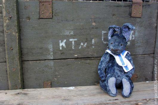 Мишки Тедди ручной работы. Ярмарка Мастеров - ручная работа. Купить Заяц тедди Степочка. Handmade. Темно-серый, заяц