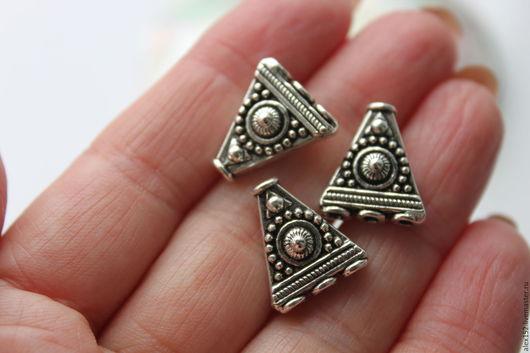 Для украшений ручной работы. Ярмарка Мастеров - ручная работа. Купить Коннектор на 3 нити тибетское серебро 17 х 14,5 мм. Handmade.
