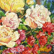 Картина Чайные розы Солнечный день в лесу Масло 70х60 см