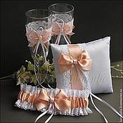 Свадебный салон ручной работы. Ярмарка Мастеров - ручная работа Набор свадебных аксессуаров персиковый. Handmade.