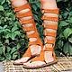 Гладиаторы из оранжевой замши на шнуровке. Любые размеры и цвета на заказ!