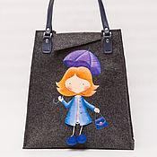 Классическая сумка ручной работы. Ярмарка Мастеров - ручная работа Сумка войлочная Девочка с зонтиком. Handmade.