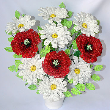 Flowers and floristry handmade. Livemaster - original item Summer composition of Chamomile and poppies. Handmade.