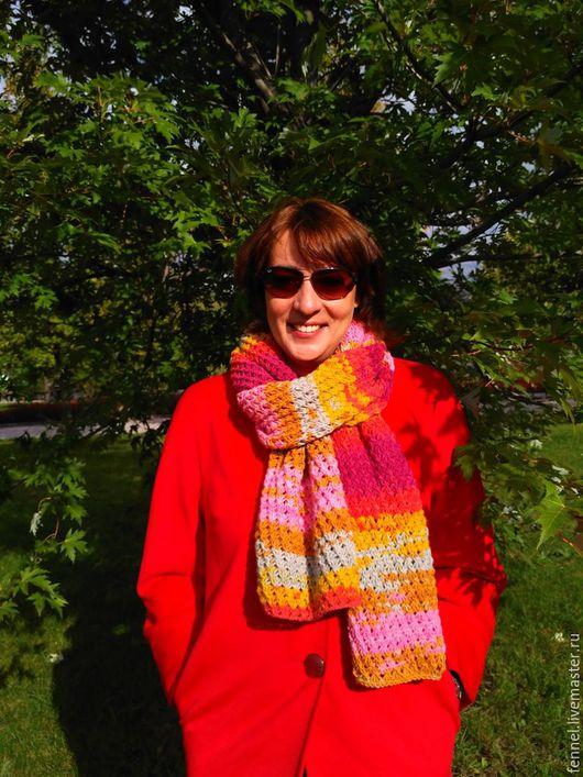 Шарфы и шарфики ручной работы. Ярмарка Мастеров - ручная работа. Купить шарф разноцветный вязаный. Handmade. Комбинированный, подарок девушке