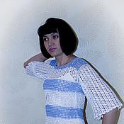 Одежда ручной работы. Ярмарка Мастеров - ручная работа Бело-голубой пуловер. Handmade.