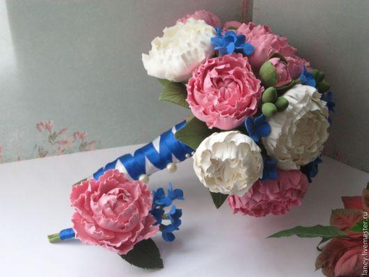 """Свадебные цветы ручной работы. Ярмарка Мастеров - ручная работа. Купить Букет невесты """"Пионы"""". Handmade. Букет, интерьерная композиция"""