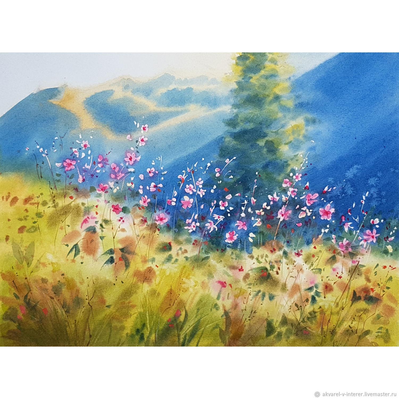 Акварельная картина горы, горы акварелью, картина утро в го, Картины, Москва,  Фото №1