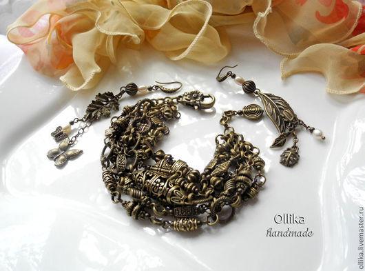 Бронзовый Век Браслет Бронза с серьгами Лесная История 790 руб  металлический браслет, модный браслет в питере, оригинальный браслет, стильное украшение, купить подарок женщине,  необычный подарок, б