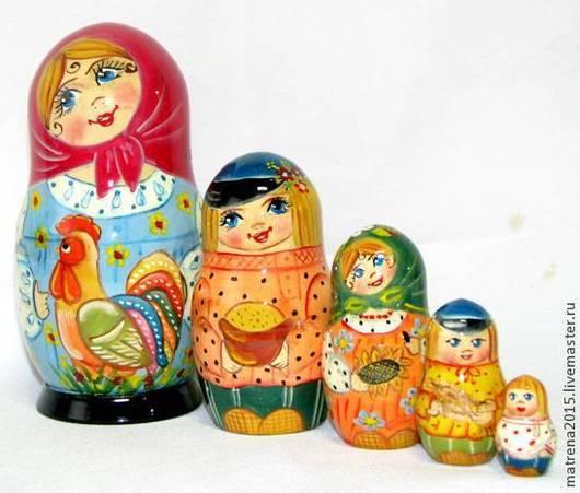 Матрешки ручной работы. Ярмарка Мастеров - ручная работа. Купить Матрешка с петушком 5-ти кукольная. Handmade. Разноцветный