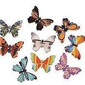 """Материалы для творчества ручной работы. Ярмарка Мастеров - ручная работа Пуговица деревянная """"Бабочки"""" 25мм x 18мм. Handmade."""