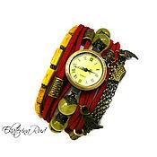 """Украшения ручной работы. Ярмарка Мастеров - ручная работа Часы-браслет,  """"Танец времени"""" красные часы, для лета. Handmade."""