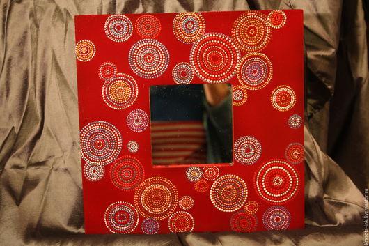 """Зеркала ручной работы. Ярмарка Мастеров - ручная работа. Купить """"Мыльные пузыри""""Интерьерное зеркало ручной работы. Handmade. Ярко-красный"""