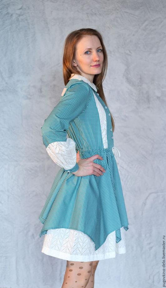Платья ручной работы. Ярмарка Мастеров - ручная работа. Купить Платье Романтическое настроение (морская волна + белое шитьё). Handmade.