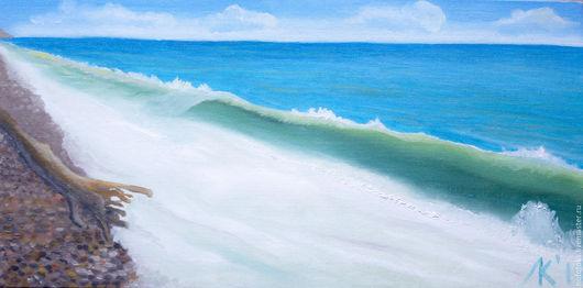Пейзаж ручной работы. Ярмарка Мастеров - ручная работа. Купить Бирюзовое черное море. Handmade. Бирюзовый, море, картина маслом
